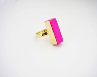 Hot Pink and Gold Stone Statement Ring
