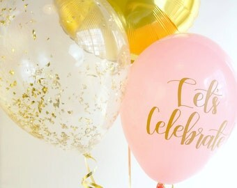 Pink and Gold Balloon Trio   Gold Confetti Balloon   Gold Foil Balloon   Pink Calligraphy Balloon