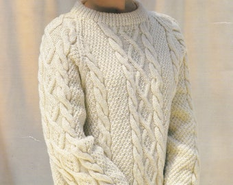 Women's aran cable sweater vintage knitting pattern aran cable sweater pdf INSTANT download pattern only 1980s