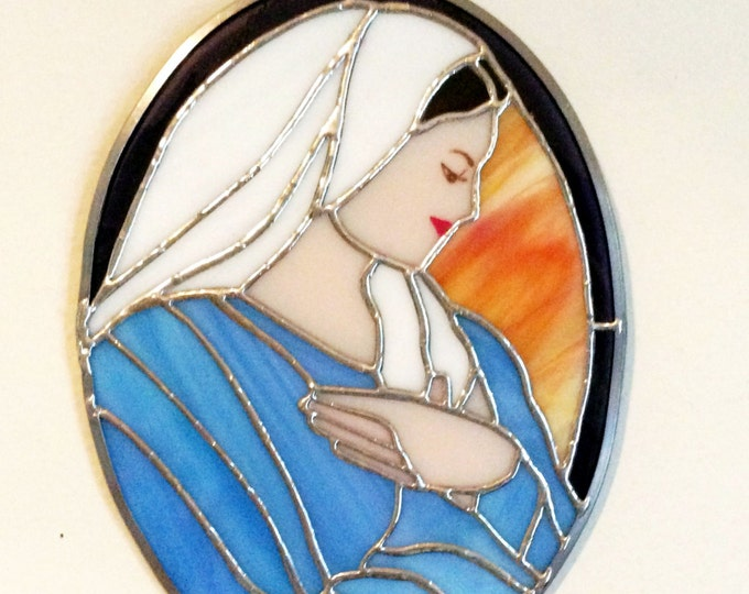 Mother Mary, Blessed Virgin Mary, Tiffany style, Stained Glass Panel, Religious Gifts, Christian Gift, Religious Decor, Best selling items