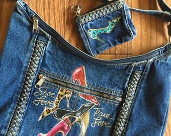 Hand-painted Denim Shoulder Bag and Change Purse