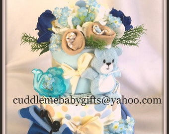 3 layer baby shower centerpiece baby shower gift baby shower decoration diaper cake
