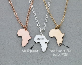 SALE • Africa Gift Gold Africa Jewelry • African Country Necklace • Silver Africa Charm • Rose Gold Africa Pendant Mission Trip Missionary