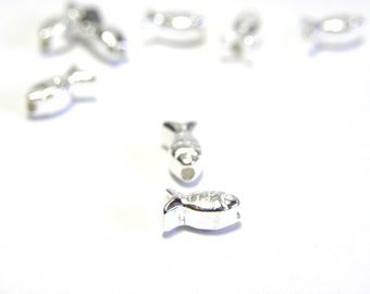 5 pc. Solid Sterling Silver Fish Beads 7 mm