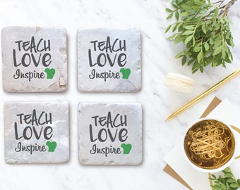 Teach Love Inspire - Teacher Coasters - Set of Ceramic Coaster Set
