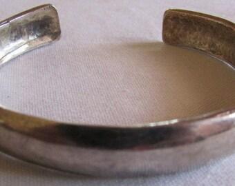 Sterling Silver Domed Cuff Bracelet  Stamped DKL