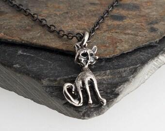 Very Tiny Cat Charm Cat Necklace Small Cat Necklace Metalwork Necklace Handmade Necklace Sterling Silver Silver Necklace Tiny Charm Necklace