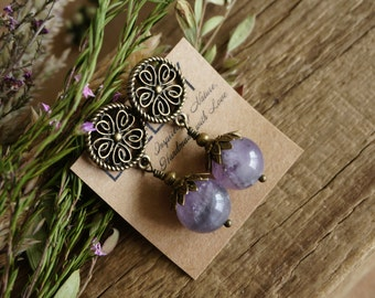 "Boho Chic ""Purple Mist"" Stud Earrings, Victorian Amethyst Rustic Beaded Night Out Statement Earrings Jewelry, Womens Mother Sister Gift"