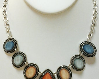 Silver Chain and Orange Teardrop with Blue, Peach and Mint Beads Necklace / Bib Necklace.