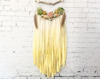 White and Yellow Branch Dreamcatcher with Dried Flowers