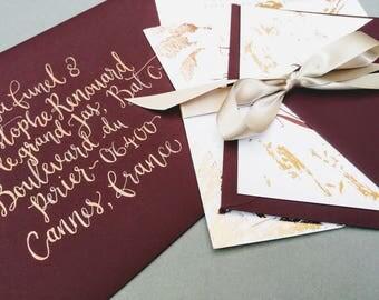 Gold Wedding Envelope Calligraphy