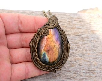 Golden Purple Labradorite Pendant Necklace , Spiritual , Mystic Jewelry , OOAK SHIPPING INCLUDED