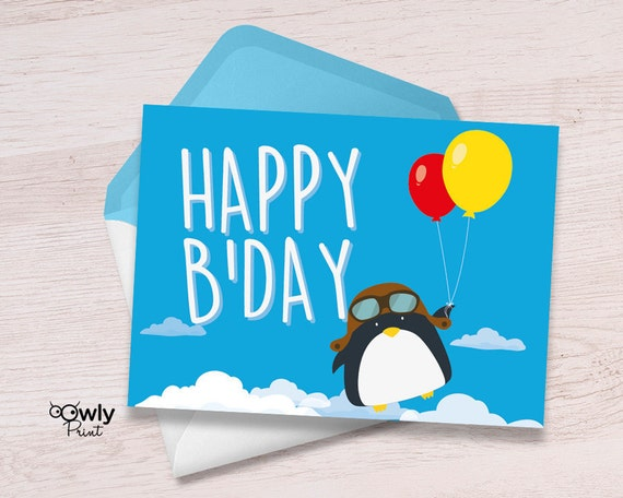 Printable Penguin Happy Birthday Card PDF Happy Birthday – Birthday Card Pdf