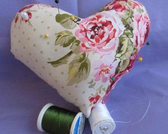 Heart Shaped Pin Cushion, Pin Cushion, Large Pin Cushion, Sewing room decor, decorative pillow, sewing,
