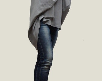 Gray Cotton Blouse / Oversized Blouse / Long Sleeved Blouse/ Asymmetrical Gray Melange Top/ Fashion Top / Casual Top / F1161