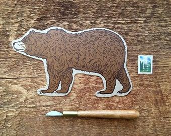 Grizzly Bear Postcard, Bear Postcard, Die Cut Letterpress Postcard