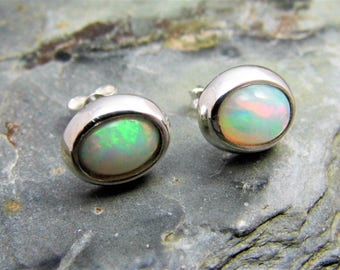 Ethiopian Opal Stud Earrings Sterling Silver Opal Earrings Opal Cabochon 8x6