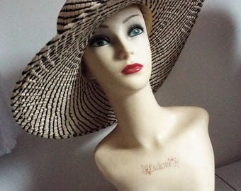 Ladies Large Brimmed Floppy Hippy Straw Hat  in Black and ivory  Weave with black banding above brim and tied bow at back