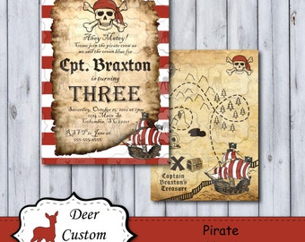 Pirate Birthday Invitation | Any Birthday | Pirate Birthday Invite | Printed or Printable | First Second Third | Skull Treasure Map Ahoy