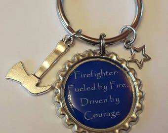 Firefighter Keychain, Fireman Keychain, Firefighter Gift, Firefighter, Dad Keychain, Fire Man Gift, Fueled by Fire, Driven by Courage, Fire