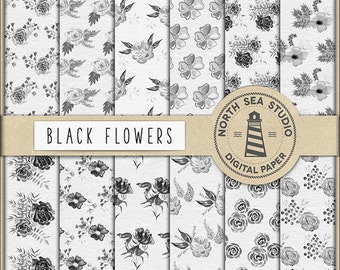 BLACK FLOWERS, Digital Paper, Watercolor Flower Patterns, Floral Collage, Decoupage, Digital Paper, Don't Forget Use Coupon Code!