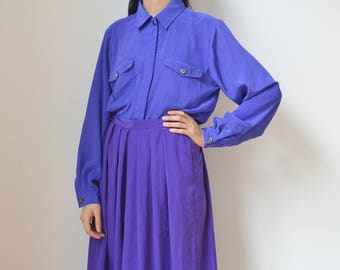 PURPLE SHIRT -blouse, 90s, 80s, hipster, indie, elegant, classic, minimalist, pockets, office wear, retro, long sleeve-