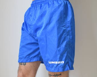 UMBRO SHORTS -blue, club kid, 90s, aesthetic, vaporwave, sporty, activewear, kappa, nike, training, party, football-