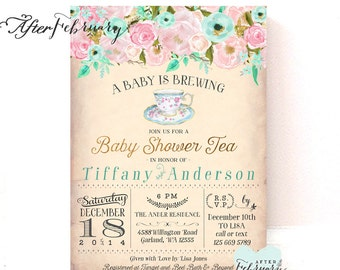 Pink Mint Gold Baby Shower Tea Party Invitation A Baby Is Brewing Floral Tea  Party Baby