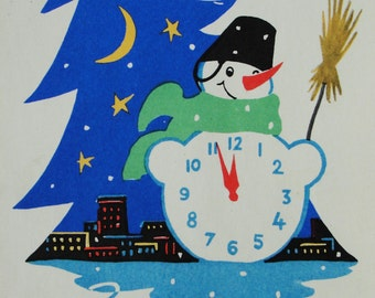 Happy New Year! Used Vintage Soviet Postcard. Artist V. Nikolaev - 1960s. Mystetstvo, Kiev. Snowman, Clock, Broom, Night city Christmas tree