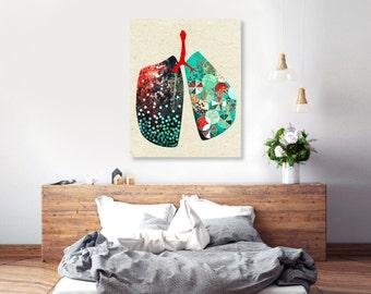 Graphic design art, lungs, anatomy art, boyfriend gift, boss, office decor, bed and breakfast, 16x20, turquoise decor, graphic design 5x7