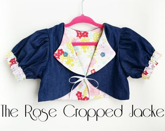 Denim Floral | Size 3T | The Rose Cropped Jacket | Toddlers & Girls