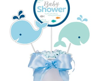 My Whale Baby Shower Centerpiece  / Whale Party / Whale theme baby shower / Whale baby shower /blue whale /Lil'Whale