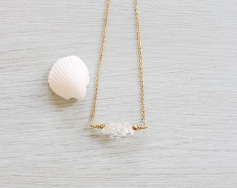 Clear crystal quartz bead bar necklace - Rock crystal / clear quartz necklace - Rock crystal necklace - April birthstone necklace
