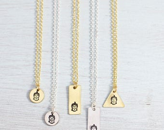 Buddha Necklace - Buddha Charm Necklace - Gold or Silver Buddha Pendant - Yoga Jewelry - Yoga Necklace - Buddha Head Necklace - Buddhism