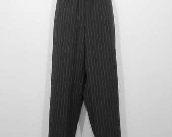 Vintage 1990s Black & Red Pinstripe Dress Slacks Polyester Rayon Blend / Women's 12 / 90s Hipster Retro Pants
