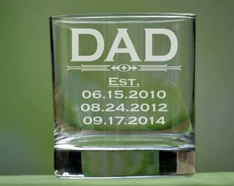 Personalized Whiskey Glass, Dad Gift, Daddy, Abuelo Gift, Grandpa Gift, Nonno Gift, Fathers Day, Fathers Day Gift, Gift for Grandpa, DOF
