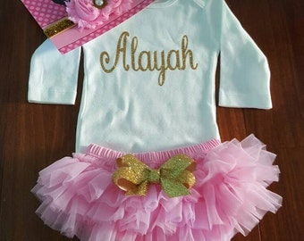 Gold Glitter Vinyl with personalized name Onesie, chiffon tutu Bloomers, & Headband Set, baby girl, newborn, hospital outfit,take home set