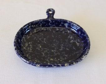 Bennington Potters Dark Blue Agate Spongeware Bistro Plate, Bennington Potters Serving Plate with Handle, David Gil Design
