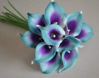 10 Teal Purple Picasso Calla Lilies Real Touch Flowers For Silk Wedding Bouquets, Centerpieces, Wedding Decorations