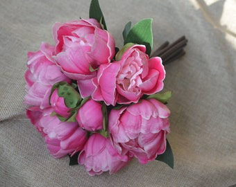 Fuchsia Peonies Real Touch Flowers For Silk Bridal Bouquets Bridesmaids Bouquets Centerpieces