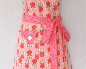 Coral Floral Apron, Full Apron, Retro Style Apron, Coral Calico, Flowers, KitschNStyle