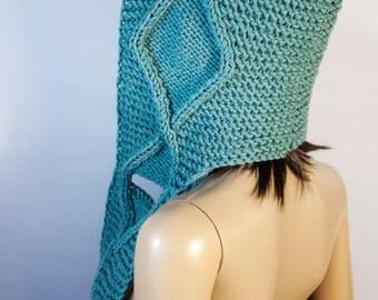 Hooded Scarf, Scoodie Scarf, HandMade knit scoodie by LoveKnittings