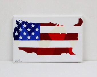 USA Painting, Original Painting, USA Map, Usa Map, Map Of Usa, Usa Flag, American Flag, American Flag Wall Art, Map Art, Travel Art