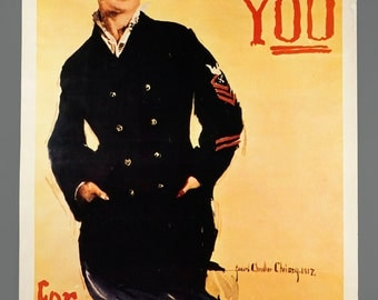 1974 U.S. Navy Poster I Want You For The Navy Vintage 24 x 38