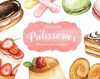 French Patisseries Watercolor clipart, watercolor menu, sweet, macaroon, cafe menu, dessert, bakery, restaurant, delicious