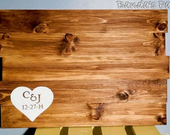 Personalized Wedding Guest Book Wood Sign, Anniversary Sign, Hand Painted, Rustic Wedding, Country Wedding