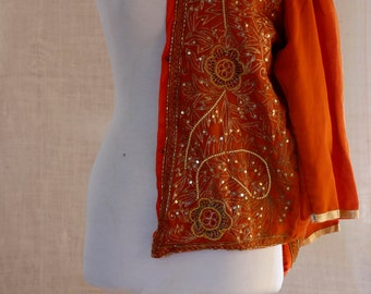 Vintage 70s, Jacket Threads, Designed Silk, Sequined, Pearlescent Beaded, Evening Jacket, Oriental Top, Jacket Formal, Embellished Blazer