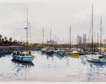 Sailboat, in the harbor of Barcelona, watercolor, original painting 52X38