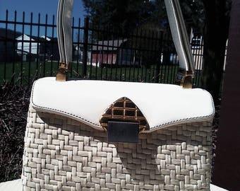 Vintage Koret Patent White Wicker Handbag With Adjustable Straps