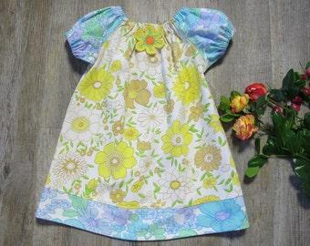 Baby Girl Vintage Retro 60s Yellow Daisy Floral Cotton PRE ORDER Eco Dress Photo Shoot Gift Birthday